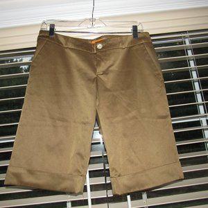 ROBERTA FREYMANN Bermuda Brown Cuffed Shorts Sz M